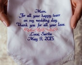 Mother OF The Bride Wedding Gift for Mom Embroidered Wedding Handkerchief Wedding Day Gift Wedding Gift Thank you for Mom Gift for Mother