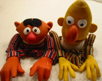 "vintage Sesame Street ""Bert and Ernie"" puppets from the 1970's . . . . original full size hand puppets . . . . well loved"