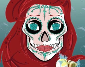 Ariel and Flounder Sugar Skull 11x14 print