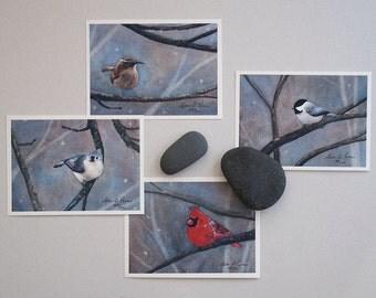 Four Bird Watercolor Prints- Set of Four 3 1/2 x 5-inch Fine Art Archival Prints- Signed Giclées- Bird Paintings by Laura D. Poss