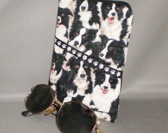 Border Collie Eyeglass Sunglasses Case - Zipper Top - Cell Phone, Camera, iPod Bag - Padded Zipper Pouch
