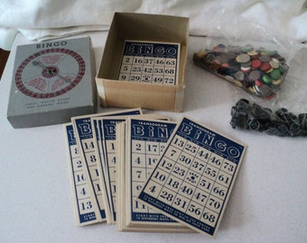 Vintage 1950s Bingo Game and Parts. 50 Cards, Assorted Markers