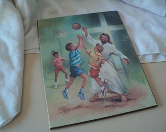 Kitsch Jesus Playing Basketball with Children Wall Plaque by Harvey Gilmen
