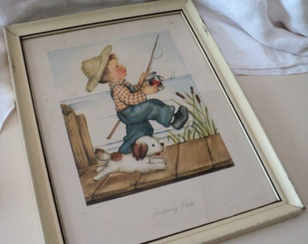 Vintage 1950s Eva Harta Print. Fishing Pals, Boy With Dog. Hummel Artist. Herbert Dubler, Inc. Wall Decor. Boy's Bedroom.