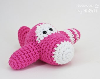 Airplane Baby Rattle Toy - organic cotton - pink and white - amigurumi crochet
