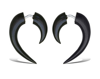 Fake Gauges, Fake Plugs, Handmade Horn Earrings, Tribal Style  - Hooks Black