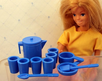 Barbie Dishes 1980s Pitcher Drinking Glass Set Cooking Pan Pot Blue