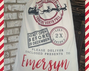 personalized Santa Sack, Christmas Gift Bag, Drawstring Sack , Gift Deliver bag, Express Delivery