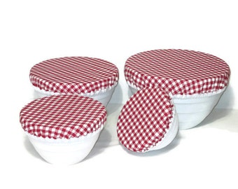 Cotton Fabric Bowl Covers -  Set of 4 Bowl Covers - Lined Fabric Bowl Covers - Red and White Gingham - Checked Fabric Bowl Covers