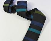 SALE - Vintage 50s Ernst Navy Blue Multi Color Stripe Pattern Square Border Swing Necktie