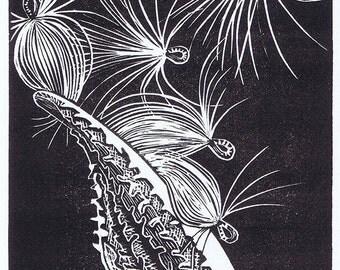 Milkweed relief block print