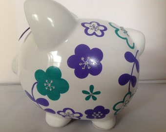 Personalized Large piggy  Bank Purple and Teal green flowers-Newborns , Boys , Girls , Ring bearer, Flower Girl,Baby Shower Gift Centerpiece