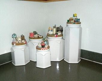 Vintage 5 Piece White Ceramic Canister Set - Decorative Lids