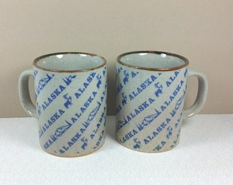 ALASKAN STONEWARE MUGS, Set of Two, 1970's, Vintage Travel, Souvenir, Road Trip, Glamping
