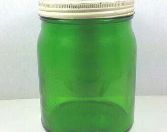 GREEN GLASS CANISTER or  Large Half Gallon Jar, Owens-Illinois, Original Lid,  Waffle Grid Pattern, 1930's, Vintage Kitchen Storage, Decor