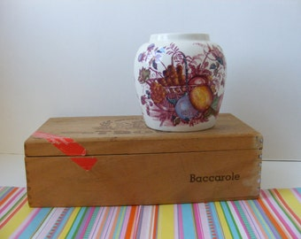 "Mason's Ironstone ""Fruit Basket"" Ginger Jar, Patent Ironstone China, Mason's Red Multicolour Transferware, England, No Lid"