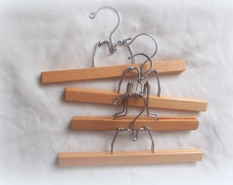 Wooden Hangers, Four Vintage Wood Pant Hangers,  Art Display, Photo Holder, Farmhouse Decor