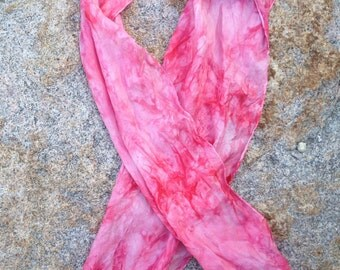 """Tie dyed haboti Silk scarf 14"""" x 72"""" One of a Kind pink for October breast cancer awareness month"""