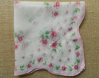1 Vintage Hanky Good Vintage Condition sheer #2544