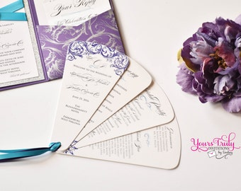 Sample - Elegant Victorian Purple Scroll with Teal accents Wedding Fan Program customized in your colors