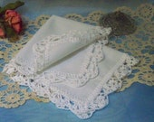 White Lace Handkerchief, Hanky, Hankie, Hand Crochet, Ladies, Embroidered, Personalized, Monogrammed, Lace, Lacy, Baptism, First Communion