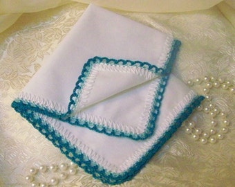 Ladies Turquoise Handkerchief, Hanky, Hankie, Hand Crochet, Lace, Monogrammed, Personalized, Embroidered, Custom, Ready to ship, Bridesmaids
