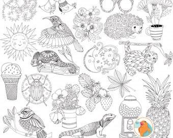 Summer Line Art Bundle, Season's PNG Illustrations, Summer ClipArt Doodle, Card Making Images, Digital Stamp, Instant Download