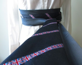 SALE Wide Waist Wrap Belt, Union Jack Belt, British Flag, Union Flag Belt, Belt made from Recycled Neckties, Patriotic Clothing, Sash Belt