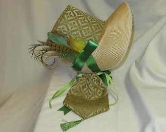 Green and Gold Stovepipe Bonnet and Reticule- Regency, Georgian, Jane Austen Era Bonnet and Purse
