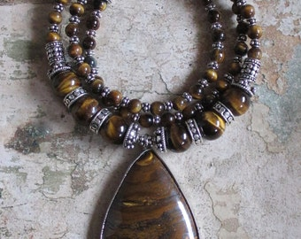 Tiger's Eye Pendant Necklace and Sterling