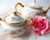 Vintage Floral Teapot and Sugar Bowl - Tea Parties Garden Parties