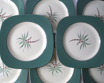 Vintage Homer Laughlin Lupine Square Salad Plates Pink Green Set of Eight