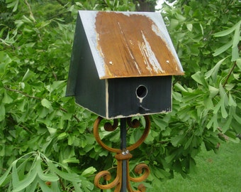 Distressed Black Salt Box Birdhouse