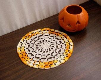 Autumn Decor Crochet Lace Doily, Fall Table Decoration, Halloween Accessory, Crochet Mandala Style