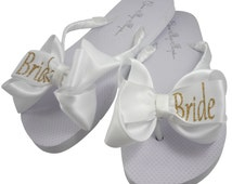 Bride Glitter Bling Flip Flops - select color, size, heel height, bow, glitter personalization- white and gold or ivory /any colors