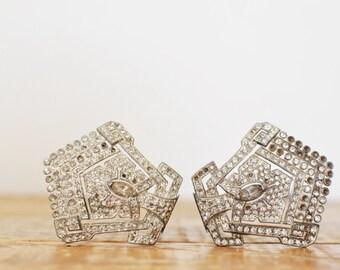 Vintage Rhinestone Shoe Clip Pair Art Deco