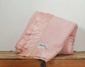 Vintage Neiman Marcus Pink Wool Blanket 100% Wool 86 by 98