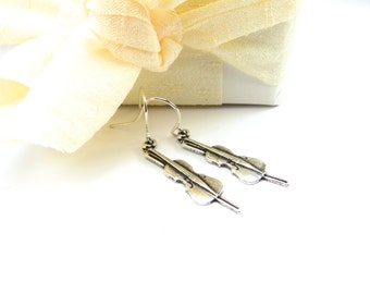 Little Cello Earrings- Sterling Silver Ox Finish- Small Cello Dangle EarringsBlack Friday Sale 20% Off