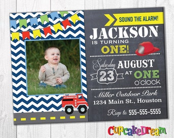Firetruck Invitation Boy Birthday