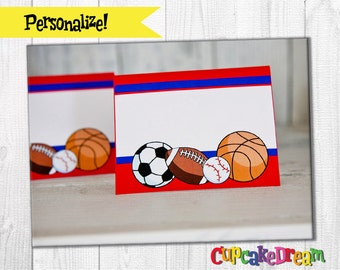 Sports Birthday, Food Label Tent Cards