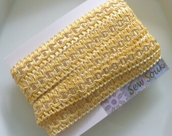 Moroccan yellow art silk trim, edging trim, pillow trim, 5 metres