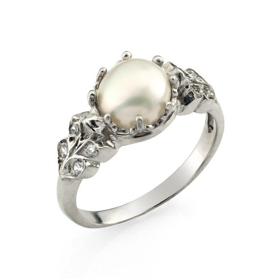 Engagement ring pearl wedding ring floral engagement by for Pearl engagement ring with wedding band