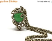 Chainmail Necklace Pendant Necklace Green Stone Necklace Gemstone Pendant Wire Wrap Pendant Sphere Pendant Chunky Necklace Pendant Necklace