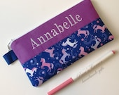 Handmade pencil pouch with zipper - Pink and white unicorns - embroidery monogram name - unisex storage bag - back to school - gift ideas