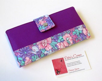 Nice women wallet  - purple and lavender flowers - ID clear pocket  - handmade and vegan - ready to ship - gift ideas for her -
