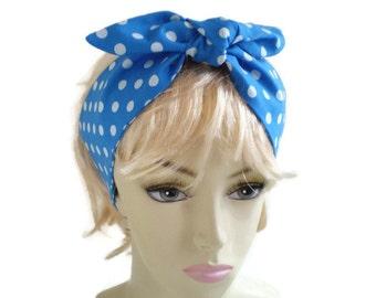 Sky Blue Polka Dot Head Scarf, Blue and White Polka Dot Head Scarf, Sky Blue Dot Head Scarf, Blue Polka Dot Head Wrap, 50's Head Scarf
