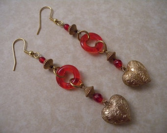 Gold Textured Heart and Red Glass Earrings