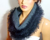 Crochet Soft Gray Black Long Scarf, Cowl Loop Scarves, Woman Winter Neck ,Fall Fashion İnfinity Scarves Winter Accessories