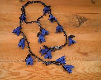 royal blue lariat necklace, crochet flower, turkish oya
