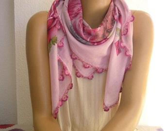 pink turkish scrarf, crochet trim, oya scarf